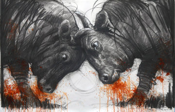 Clash of Titans  2014 38x59 Drawing by Nico Vrielink