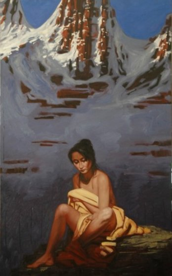Woman in the Mountains 2007 51x32 Original Painting by Nico Vrielink