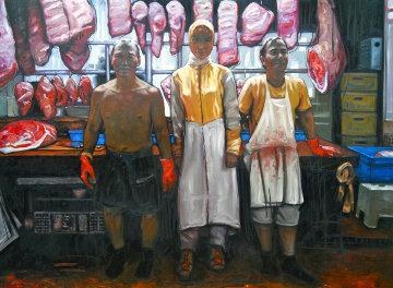 Butchers of Hong Kong 2014 59x79 Huge Original Painting - Nico Vrielink