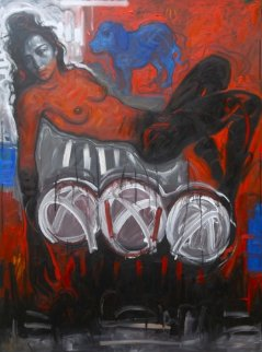 Woman Floating Over the Deepest Part of the Red Sea , With the Blue Dog 2014 78x59 Huge Original Painting - Nico Vrielink
