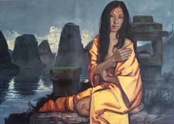Shanghai Girl 2011 39x59 Original Painting - Nico Vrielink