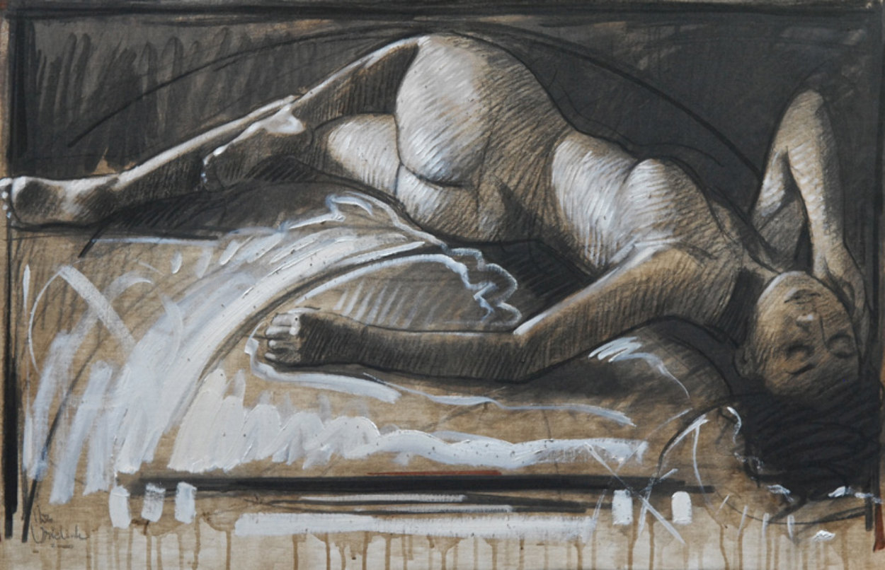 Reclining Nude 2008 25x39 Original Painting by Nico Vrielink