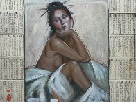 Woman Seated Between Mystery 2014 Original Painting by Nico Vrielink - 1