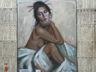 Woman Seated Between Mystery 2014 Original Painting by Nico Vrielink - 0