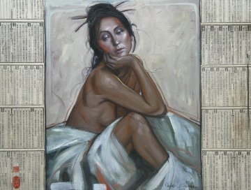 Woman Seated Between Mystery 2014 Original Painting by Nico Vrielink