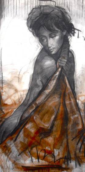 Model in the Bathroom 2014 59x31 Works on Paper (not prints) by Nico Vrielink