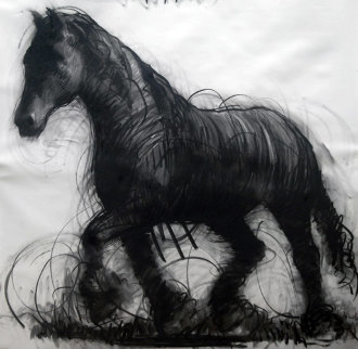 Horse Drawing 2015 59x59 Drawing by Nico Vrielink