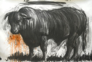 Bull Drawing 2015 39x59 Drawing by Nico Vrielink