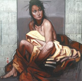 Singapore Girl in Yellow Cloth 2008 47x47  Huge Original Painting - Nico Vrielink
