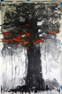Snowfall on the Fire Tree in Bali 2015 Original Painting - Nico Vrielink
