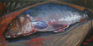Fish 2015 19x39 Original Painting - Nico Vrielink