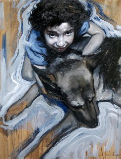 Girl And Her Dog 2015 35x27 Original Painting - Nico Vrielink