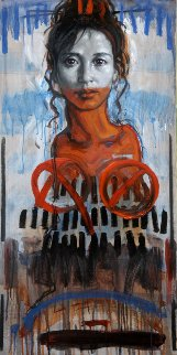 Portrait of a Woman 2015 39x19 Original Painting by Nico Vrielink