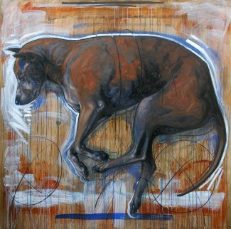 Dog 2015 59x59 Original Painting - Nico Vrielink