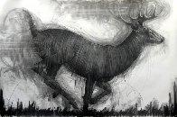 Running Deer Drawing 2015 39x59 Drawing by Nico Vrielink - 0
