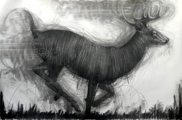 Running Deer Drawing 2015 39x59 Drawing by Nico Vrielink