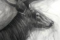 Running Deer Drawing 2015 39x59 Drawing by Nico Vrielink - 1