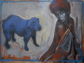 Portrait of a Woman With Blue Dog 2015 23x31 Original Painting - Nico Vrielink