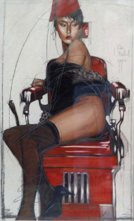 Untitled Mixed Medis 1990 42x25  Huge Original Painting - Nico Vrielink