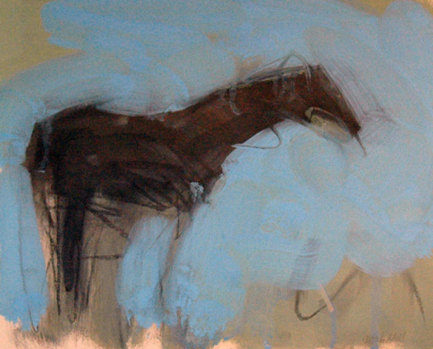 Solitary Horse 1992 9x10 Original Painting by Theodore (Ted) Waddell