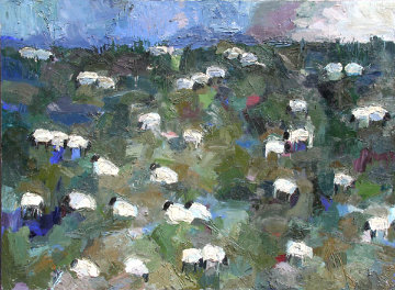 Sheep 3 1987  66x90 Original Painting - Theodore (Ted) Waddell