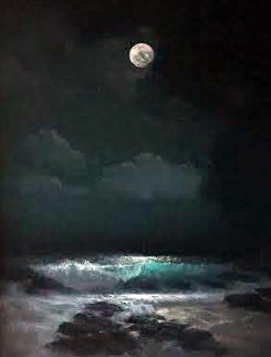 Full Moon Sandy Beach 1994 35x29 Original Painting by Walfrido Garcia