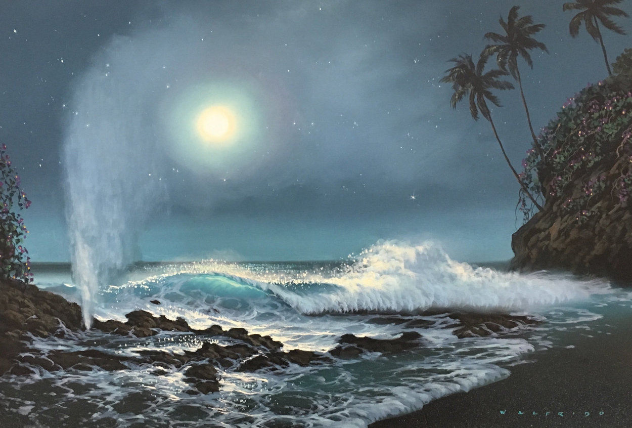 Tide Pools And Blowholes 2000 32x44 Super Huge Original Painting by Walfrido Garcia