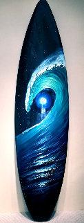 Green Room Surfboard 2016 77x20 Original Painting - Walfrido Garcia