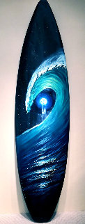 Green Room Surfboard 2016 77x20 Super Huge Original Painting - Walfrido Garcia