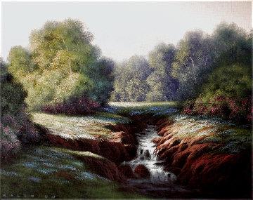 Untitled Landscape 2000 26x32 Original Painting - Walfrido Garcia