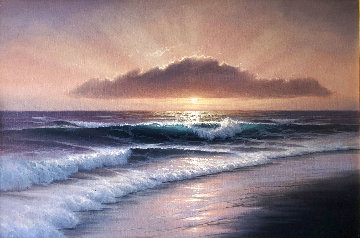 Untitled Seascape 2000 31x43 Original Painting - Walfrido Garcia
