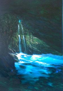 Turquoise Retreat 1996 51x41 Huge Original Painting - Walfrido Garcia
