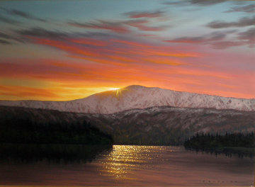 Colors of Sunset, Alaska 24x36 Original Painting - Walfrido Garcia