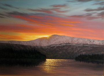 Colors of Sunset, Alaska 24x36 Original Painting - Walfrido Garcia