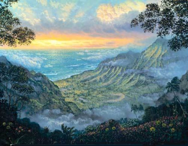 Kalalau Lookout 1997 30x48 Original Painting by Walfrido Garcia