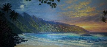 Shifting From Light to Dark 2001 24x50 Original Painting - Walfrido Garcia