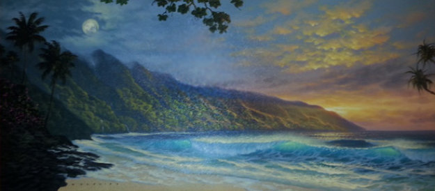Shifting From Light to Dark 2001 24x50 Original Painting by Walfrido Garcia