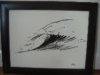 Wave Form Chinese Brush Painting 2008 14x24 Original Painting by Walfrido Garcia - 1