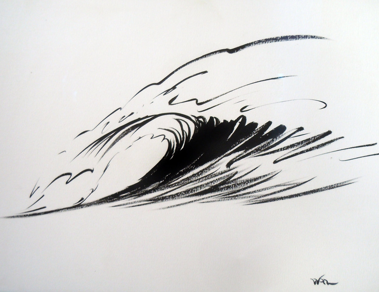 Wave Form Chinese Brush Painting 2008 14x24 Original Painting by Walfrido Garcia
