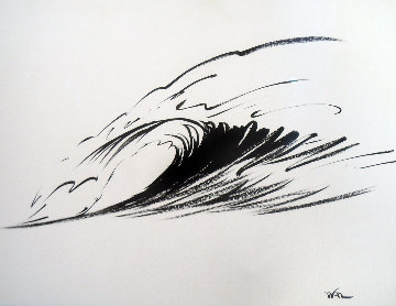 Wave Form Chinese Brush Painting 2008 14x24 Original Painting - Walfrido Garcia