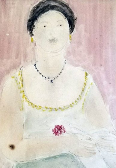 Portrait of a Lady Watercolor 1907 10x9 Watercolor by Abraham Walkowitz