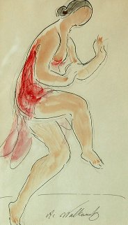 Isadora Duncan Watercolor 1910 8x5 Watercolor by Abraham Walkowitz