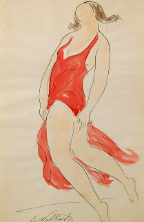 Isadora Duncan Watecolor 1910 8x5 Watercolor by Abraham Walkowitz