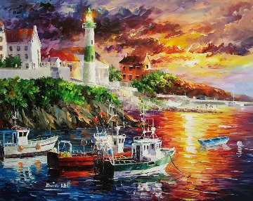 Harbor With Lighthouse 2012 41x34 Original Painting - Daniel Wall