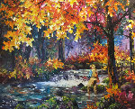 Autumn River 2013 39x32 Original Painting - Daniel Wall