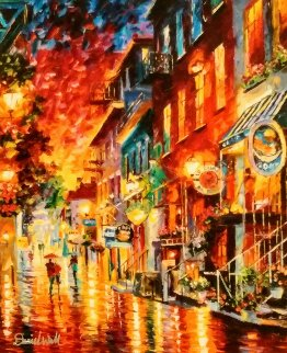 City Street Dusk Embellished Unique 2014 Limited Edition Print by Daniel Wall