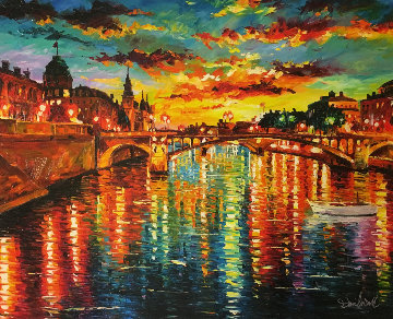 Sunset Over Siene 2014 Embellished Limited Edition Print by Daniel Wall
