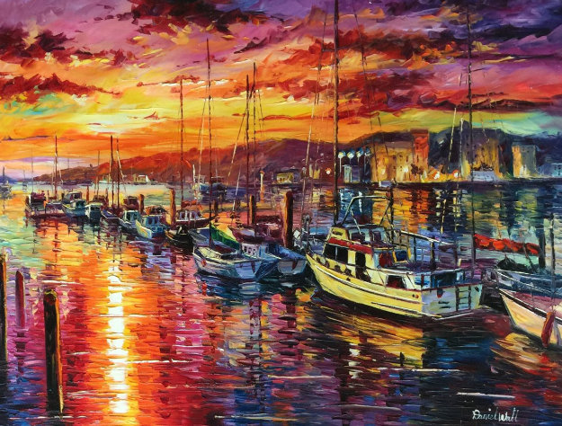 Sunset Marina 40x40 Original Painting by Daniel Wall