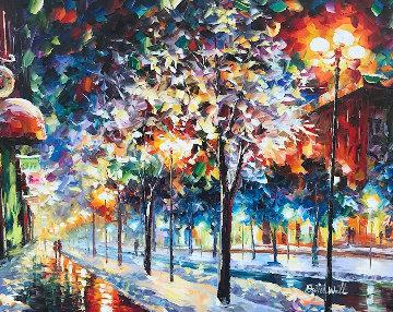 Cold City Night 2013 42x36 Original Painting - Daniel Wall