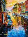 A Joyful Canal in Venice 36x30 Original Painting - Daniel Wall
